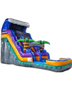 16' Tropical ENHANCED Wet/Dry Inflatable Slide | S314