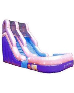 16' Pink Glitter Wet/Dry Inflatable Slide